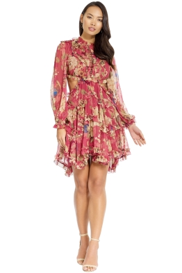 Zimmermann - Melody Lace Up Short Dress - Red - Front