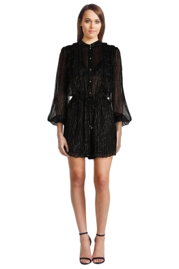 Zimmermann - Mischief Frill Playsuit - Front - Black