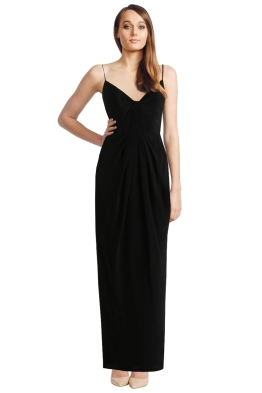 Zimmermann - Silk Folded Long Dress - Black - Front
