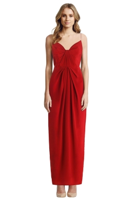 Zimmermann - Silk Folded Long Dress - Crimson - Front