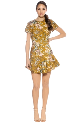 Zimmermann - Tropicale Lattice Dress - Mustard - Front - Mustard