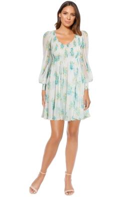 Zimmermann - Whitewave Shirred Mini Dress  - White Print - Front