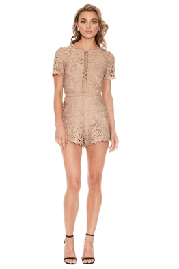 Ministry of Style - Lush Lace Playsuit - Mocha - Front