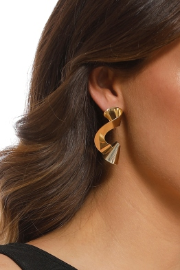 Adorne - Abstract Coiled Metal Statement Stud Earring - Gold - Product