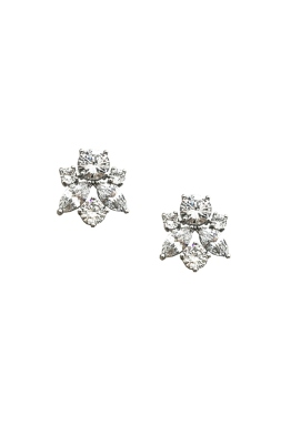 Adorne - Almond Jewelled Cluster Earring - Silver - Front
