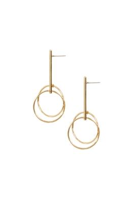 Adorne - Axis Rod Drop Stud Earrings - Gold