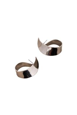Adorne - Curl Stud Earrings - Silver - Front