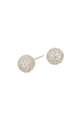 Adorne - Diamante Covered Ball Stud Earring in Silver Crystal - Front