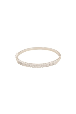 Adorne - Fine Diamante Hinge Metal Bangle - Front