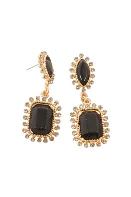 Adorne - Diamante Edge Facet Rectangle Jewel Drop Earring - Black - Front