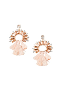 Adorne - Faced Glass Circle and Three Tassel Earrings - Rose Opal - Front