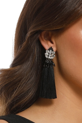 Adorne - Jewelled Top Tassel Earrings - Black - Product