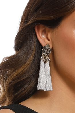 Adorne - Jewelled Top Tassel Earrings - Grey Gold - Product
