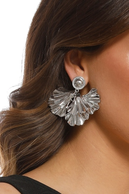 Adorne - Layered Petal Stud Earring - Silver - Product