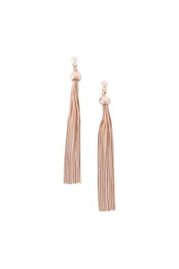 Adorne - Long Tassel Button Top Earring - Rose Gold - Front
