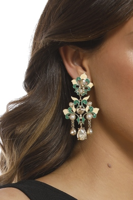 Adorne - Oriental Pearl Faceted Glass Clip On Earrings - Green Nude - Product