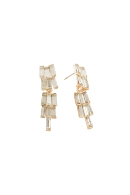 Adorne - Tiered Baguettes Mini Drop Earrings - Crystal Gold - Front
