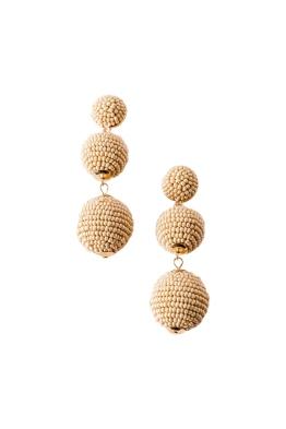 Adorne - Trio Beaded Balls Earrings - Camel
