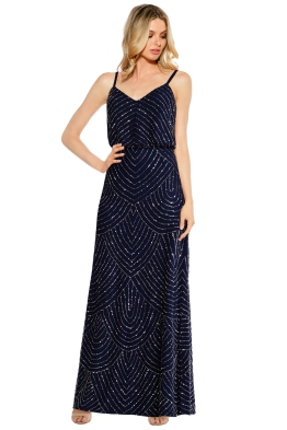 Adrianna Papell - Art Deco Beaded Blouson Gown - Navy - Front
