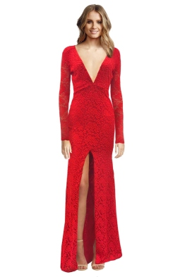 Ae'lkemi - V Plunge Red Long Sleeve Gown - Front