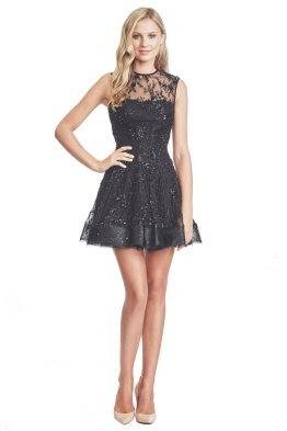 Alex Perry - Arielle Lace Beaded Mini Dress - Front - Black