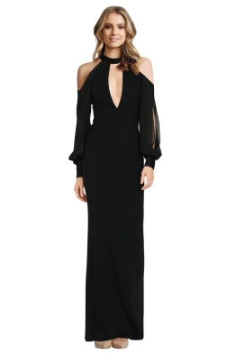 ABS by Allen Schwartz - Cold Shoulder Gown with Chiffon - Front