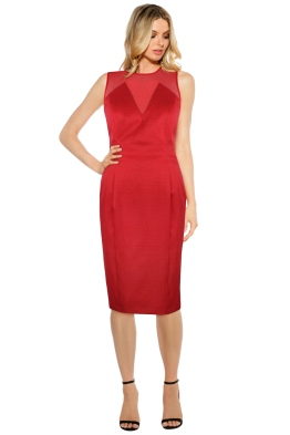 Anna Scholz - Checker Tailoring Mesh Insert Dress - Front