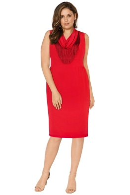 Anna Scholz - Crepe Jersey Fringe Cowl Dress - Red - Front