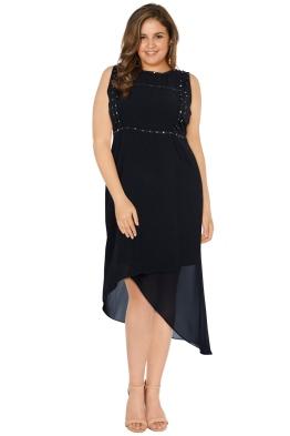 Anna Scholz - Georgette Asymmetric Stud Dress - Black - Front