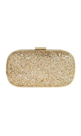 Anya Hindmarch - Marano Metallic Glitter Box Clutch - Front- Gold