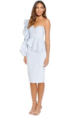 Asilio - Epoch Stripe One Shoulder Dress - Blue - Front