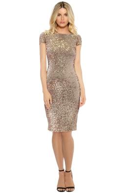 Badgley Mischka - Blush Sequin Cowl Midi Dress - Front