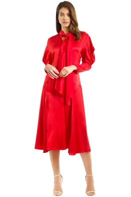 Bianca Spender - Crimson Silk Satin Liberation Dress - Red - Front
