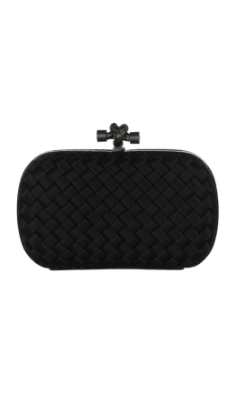 Bottega Veneta - The Knot watersnake-trimmed intrecciato satin clutch - Front - Black