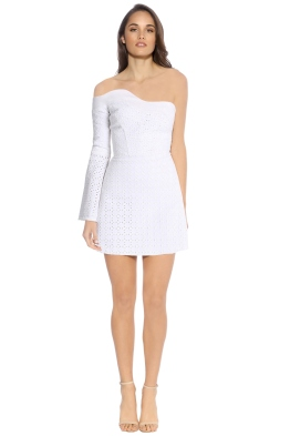 By Johnny - One Sleeve Lace Marthe Mini Dress - White - Front