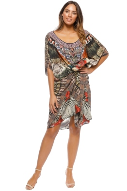 Camilla - Light My Fire Round Neck Kaftan - Prints - Front