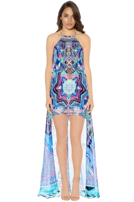 Camilla - Threads of Cosmos Short Sheer Overlay Dress - Prints - Front