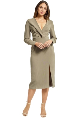 Cmeo Collective - Questions LS Midi Dress - Khaki - Front
