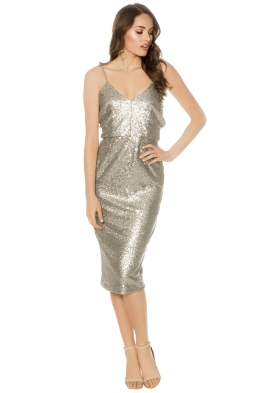 Cooper St - Midnight Lucky Sequin Dress - Gunmetal - Front