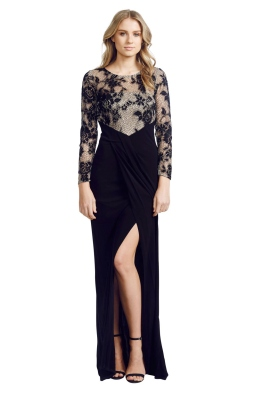 David Meister - Illusion Lace Gown - Front - Black - christmas work function
