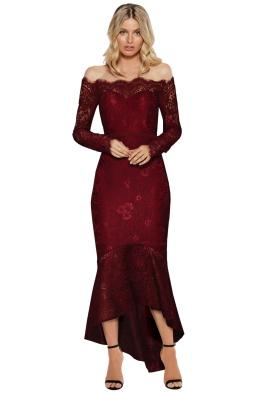 Elle Zeitoune - Marchesa Gown - Wine Red - Front