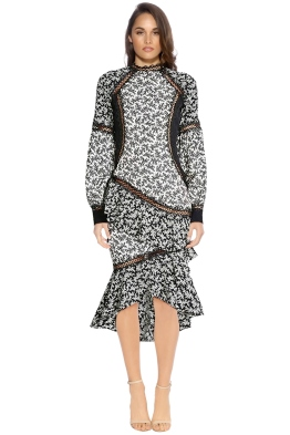 Elliatt - Florence Dress - Black White Print - Front
