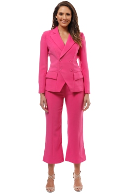 Elliatt - Opulent Blazer and Pant Set - Fuschia - Front