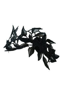 Morgan and Taylor - Shiloh Lace Applique Fascinator - Black - Side