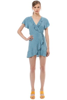 Auguste - Polly Frill Neck Wrap Mini Dress - Blue - Front