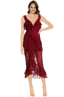 For Love and Lemons - Daphne Lace Midi Dress - Bordeaux - Front