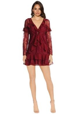 For Love and Lemons - Daphne Lace Mini Dress - Bordeaux - Front