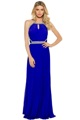Forever Unique - Embellished Maxi Dress with Keyhole Detail - Sax Blue - Front