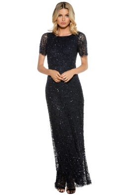 Grace & Blaze - Navy Short Sleeve Sequin Gown - Front