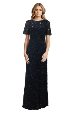 Grace & Blaze - Navy Short Sleeve Sequin Gown - Front
